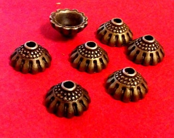 12pc 10.5mm antique bronze lead nickel free bead caps-5025