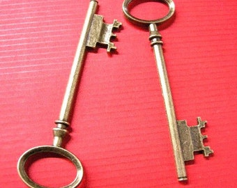 2pc 80x23mm antique bronze metal large key pendant-5243
