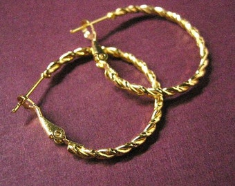 6pc(3pairs) gold finish 30mm hoop earrings-1903
