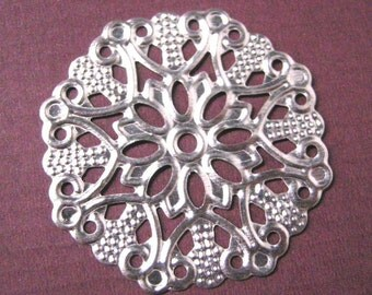 8pc platinum look 36mm filigree flower fancy wraps-5307