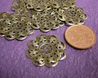 12pc 23mm antique bronze filigree metal center piece/wraps-307