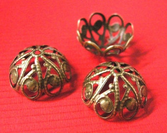 12pc 20mm antique bronze filigree metal bead cap-5358