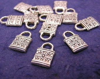 sale-12pc antique silver plated metal fancy lock charm-764