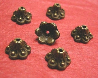 20pcs 9.5mm fancy antique bronze flower bead caps-1070