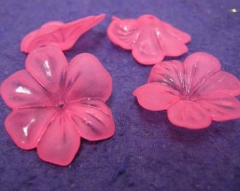 10pc 30mm large hot pink acrylic flower beads-1129