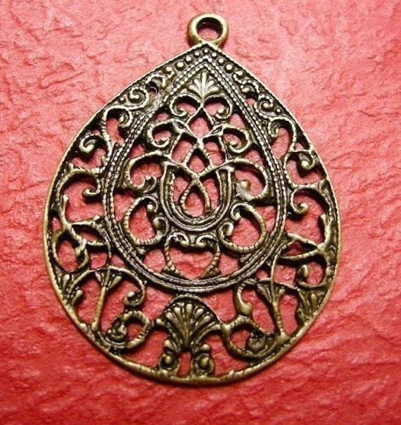 4pc antique bronze metal alloy oval pendant-3380