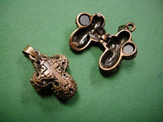 2pc antique copper fancy wish box pendant-346A
