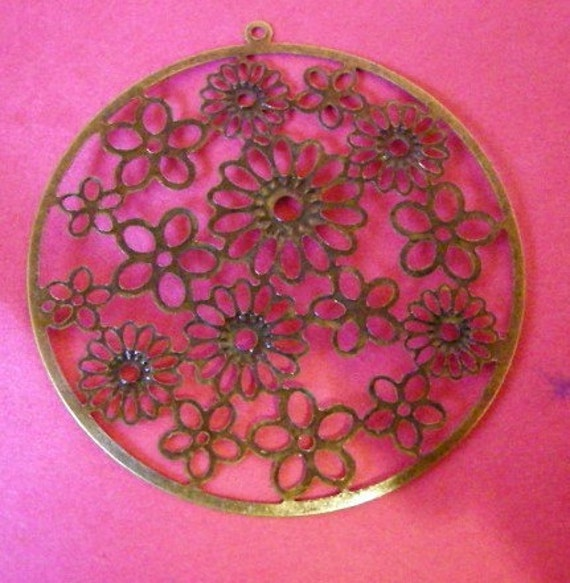 8pc 53mm antique bronze flower round filigree pendant-1766