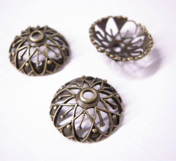 6pc 20mm antique bronze lead nickel free bead cap-550
