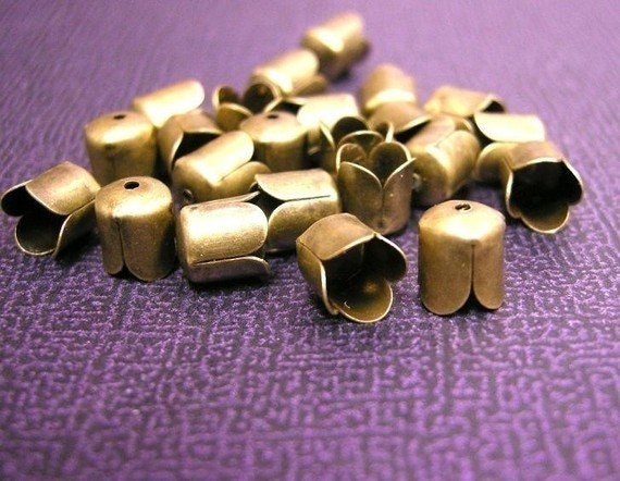 24PC antique bronze metal 6.5mm bead caps-505