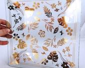 Vintage Gold leaf Patterned Plate / 1960s
