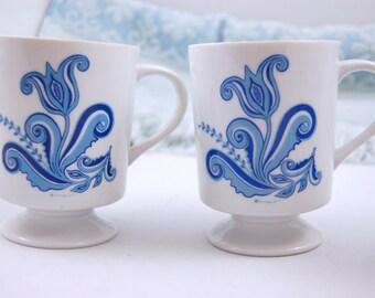 Blue and White Berggren Pedestal Mugs / Footed Mug
