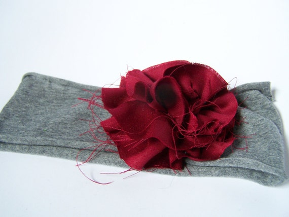 Maroon cotton flower stretchy gray infant/toddler headband