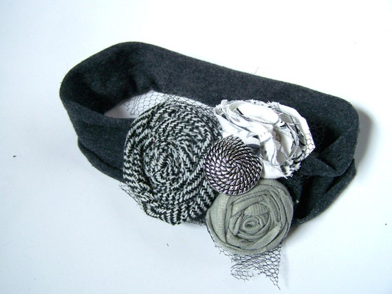 Vintage white and black flower charcoal gray stretchy headband for teen/adult