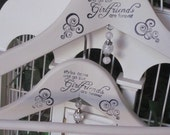"""Shabby Chic """"Styles come and go"""", Set of 2 Vintage Style Hand Painted and Stamped Wood hangers"""