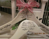 Shabby Chic Daughters grow Up To Be Your Best Friend, Set of 2 Vintage Style Hand Painted and Stamped Wood hangers