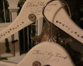"""Shabby Chic  """"For My Love"""" Set of 2 Vintage Style Hand Painted and Stamped Wood hangers"""