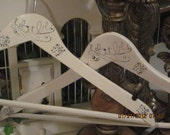 """Shabby Chic  """"Let It Be"""" Set of 2 Vintage Style Hand Painted and Stamped Wood hangers"""
