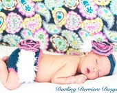 Special listing for BRIANA- Crochet Feather Vintage Flower Headband And Diaper Cover, Girls Apparel and Accessories
