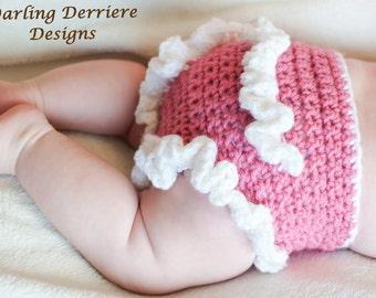 Instant Download PDF Ruffle Diaper Cover Crochet PATTERN