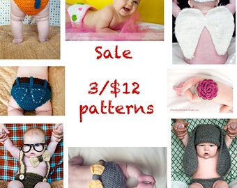 Sale- 3 Crochet Patterns for 12 Dollars