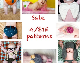Sale- 4 Crochet Patterns for 15 Dollars