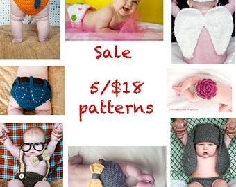 Sale- 5 Crochet Patterns for 18 Dollars