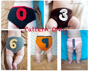 PDF Instant Download 0-9 Numbers Baby Month to Month Crochet Diaper Cover Pattern