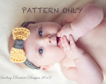 Instant Download PDF Baby Crochet Bow Headband PATTERN