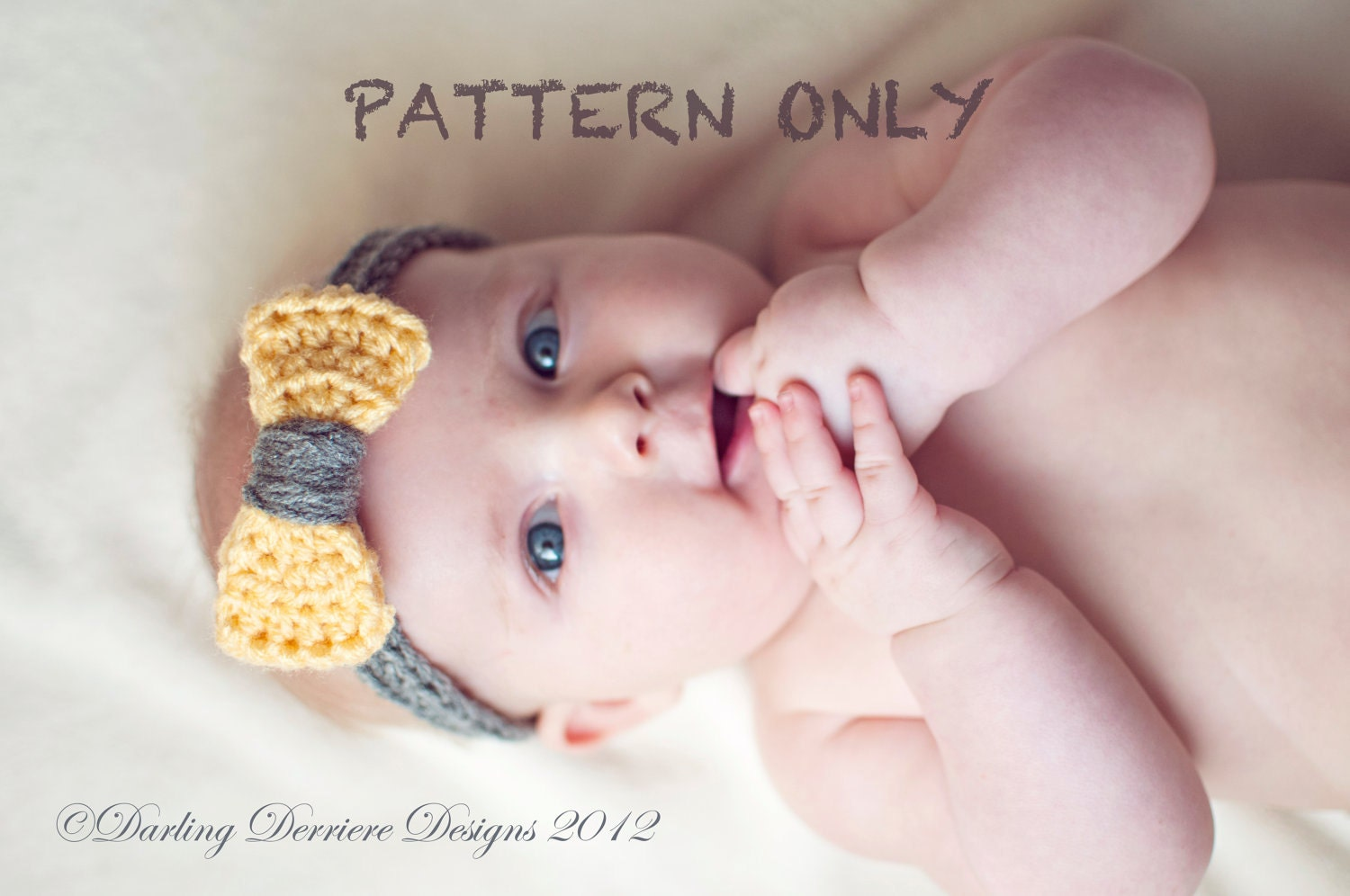 Crochet Headband Pattern Newborn : Instant Download PDF Baby Crochet Bow Headband by ...