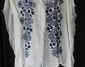 embroidered, loose weave linen jacket