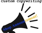 Etsy Shop Announcement - Custom Writing For Your Online Business