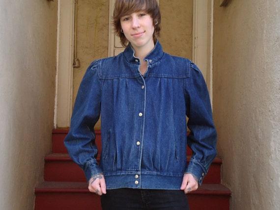 Vintage 1980s Pleated Dark Denim Jean Jacket w High Collar and Snaps