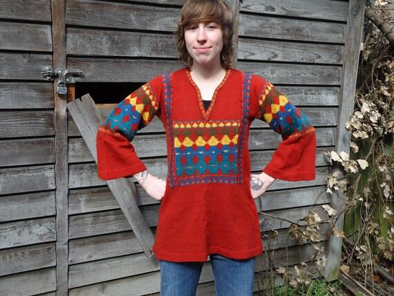 Vintage 1970s Organically Grown by Arpeja Glittery Boho Sweater
