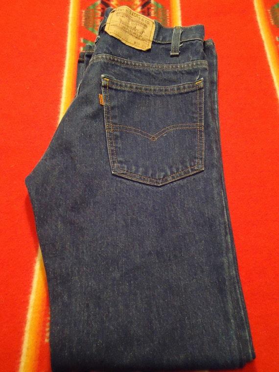 Vintage 1970s Levi Strauss 517 Denim Jeans Orange Tab W28 L30