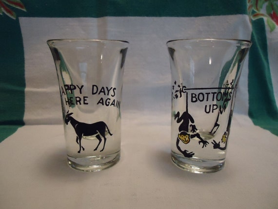 RESERVED DO NOT Buy Vintage 1960s Happy Days Bottoms Up Shot Glasses Set of Two