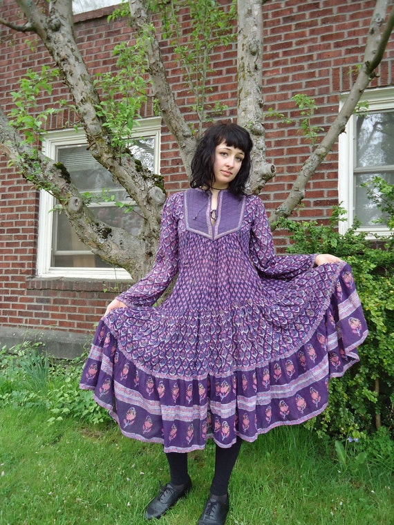 Reserved for Tessa Vintage 1970s INDIA GYPSY Maxi Dress Floral Gauzy Voile Cotton GORGEOUS
