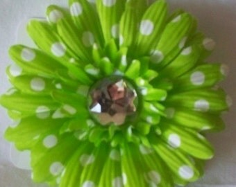 Lime green polka dot flower clip
