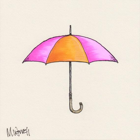 "Umbrella Series: Pink, Gold -  6"" x 6"" - Ink, Colored Pencil"