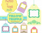 Funky Retro Tags Printable Cliparts for digital projects for scrapbookers, web designers and photographers