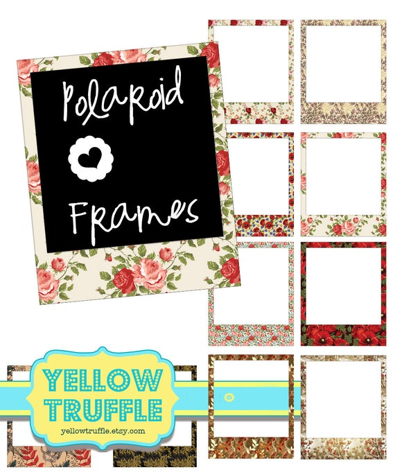 VINTAGE FLORAL POLAROID Frames Printable Cliparts for digital projects for scrapbookers, web designers and photographers