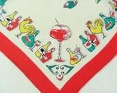 Vintage 50s Linen Cocktail Tea towel Bar Cloth Tea Towel Kichen Cloth Mid Century