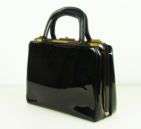 Black Patent Vintage 50s or 60s Kelly bag Frame Handbag