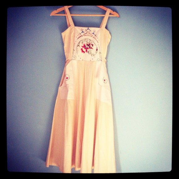 70s Cotton Sun Dress Pinafore Style with Embroidery UK 4-6 US 0-2 xs