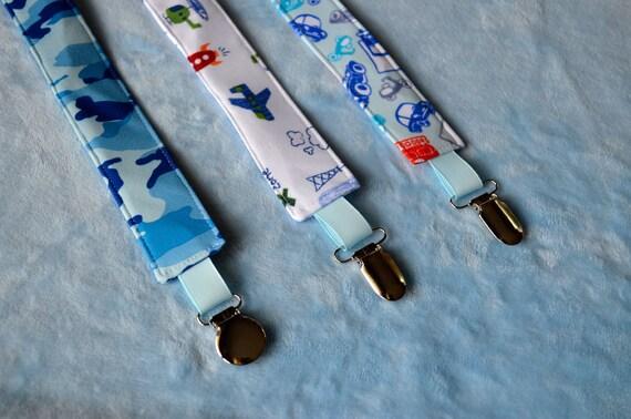 FREE SHIPPING - Pacifier Clip - Pacifier Holder - Paci Clip - Binky Clip - Set of 3 - Boy - Blue Camo, Landing Zone, Beep Beep