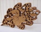 Wooden Filigree OAK LEAF & SQUIRREL Sculpture