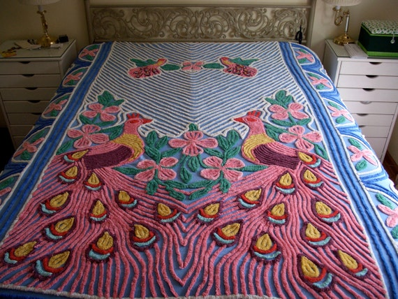 Full Size Vintage Chenille Peacock Bedspread in Fabulous Colors