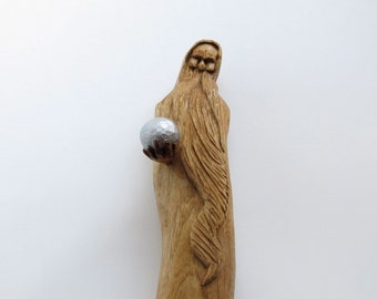 Mystical Wizard, Hand carved, Birthday Gift,  Future, Gift Ideas, Magic, Fantasy, Shelf Decor