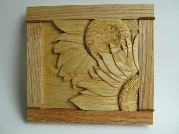 Sunflower Carving Hand Carved  Sunflower Wall Decor Rustic Home Decor Flowers, Garden, Wall Hanging, Shelf Decor, Birthday, Anniversary