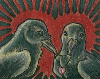 Original ACEO Romantic Ravens
